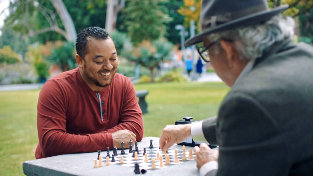 Ontario Masons playing chess on park